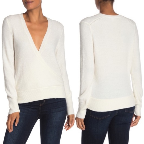 NWOT Madewell Pullover Faux Wrap Sweater White Med